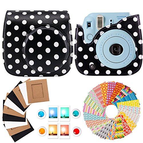 Fujifilm Instax Mini 8 Camera Accessories – 4 in 1 Mini 8 Camera Bundle Set Accessory (Camera Case Bag/Selfie Portrait Mirror/Wall Hanging Style Paper Frame/Film Sticker) – Black Polka Dots