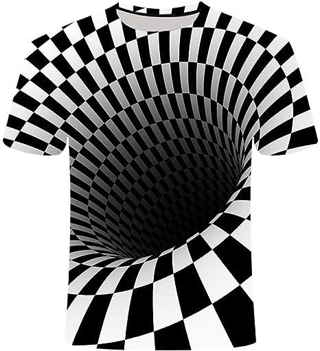 3D Impreso T-Shirtunisex Informal De Verano La Impresión Personalizada De Manga Corta Camisa A Cuadros En Blanco Y Negro Gráfico Espacio Cómodo Cuello Redondo Permeabilidad Al Aire Camisetas Tops: Amazon.es: Deportes y