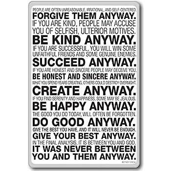 Amazoncom Mother Teresa Anyway Quote Motivational Quotes Fridge