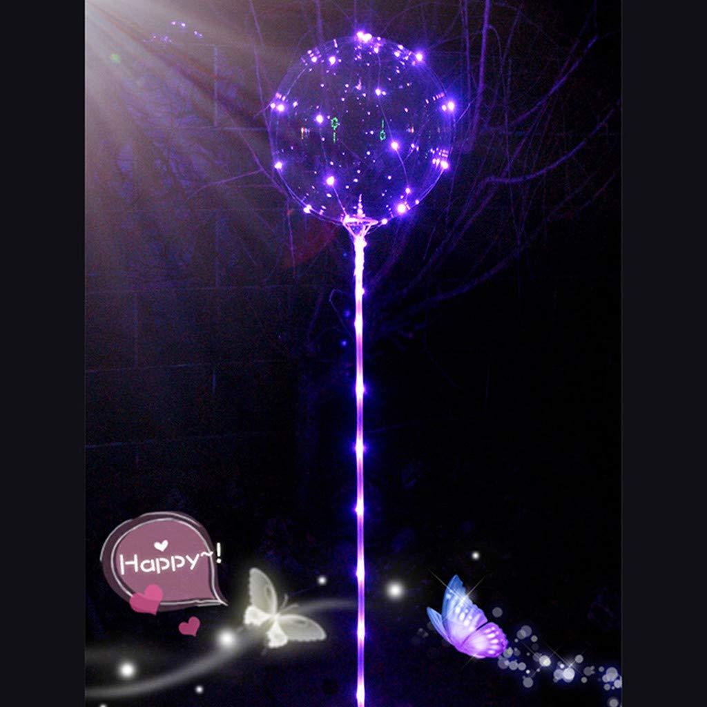 oldeagle Reusable Luminous Led Balloon, Clear Latex Round Bubble Creative Balloon for Birthday Wedding Party Decorative 21cm (Purple)