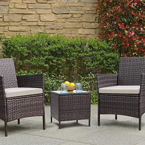 Devoko Patio Porch Furniture Set 3 Piece PE Rattan Wicker Chairs Beige Cushion with Table Outdoor Garden Furniture Sets (Brown)