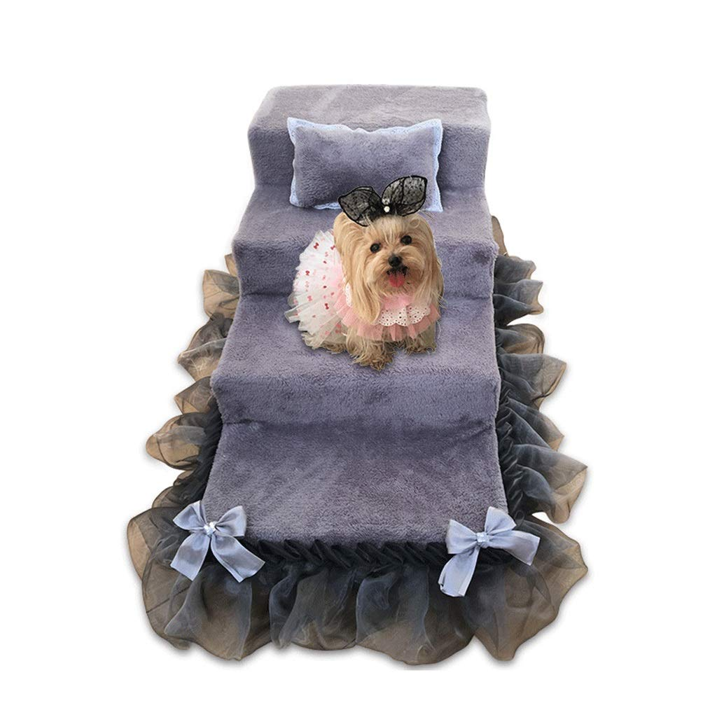 4 STEPS Pet Stair Stairs Princess Bed Small Dog Puppies Kennel Stair with Skirt, 2 Step  3 Steps  4 Steps (color   4 Steps)