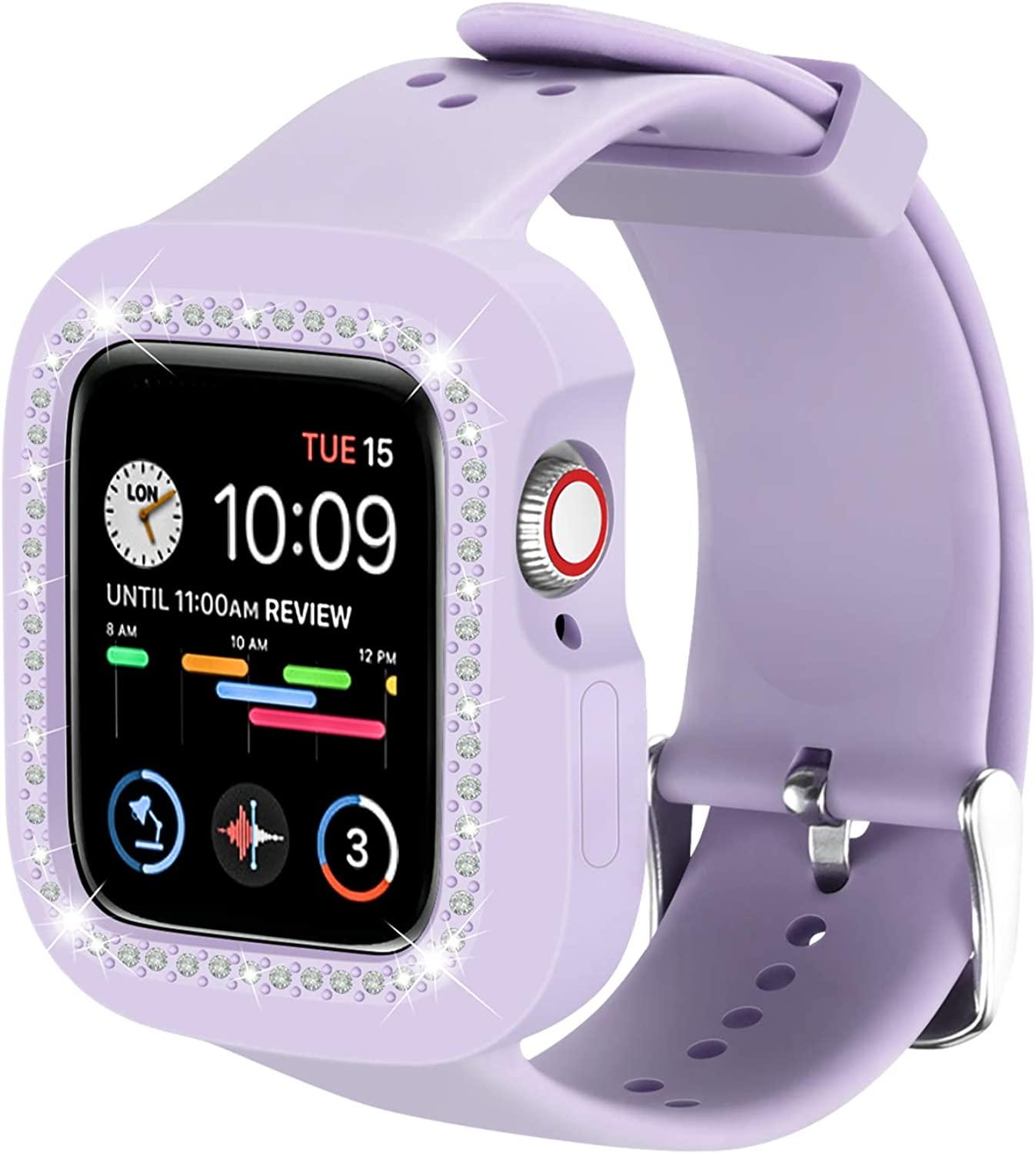 I Watch Bands 40mm Compatible with Apple Watch, ZHMM Bling Diamond Apple Watch Band Designed for Women Protect Cover and Soft Silicone for 40mm Apple Watch Series 6/5/4 SE