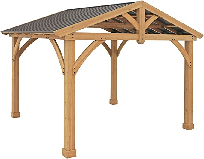 Yardistry 11' x 13' Wood Pavilion with Aluminum Roof - Best for Weather Resistance
