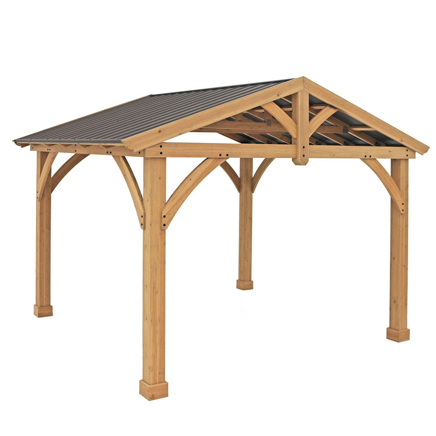 Yardistry 11 x 13 Wood Pavilion with Aluminum Roof