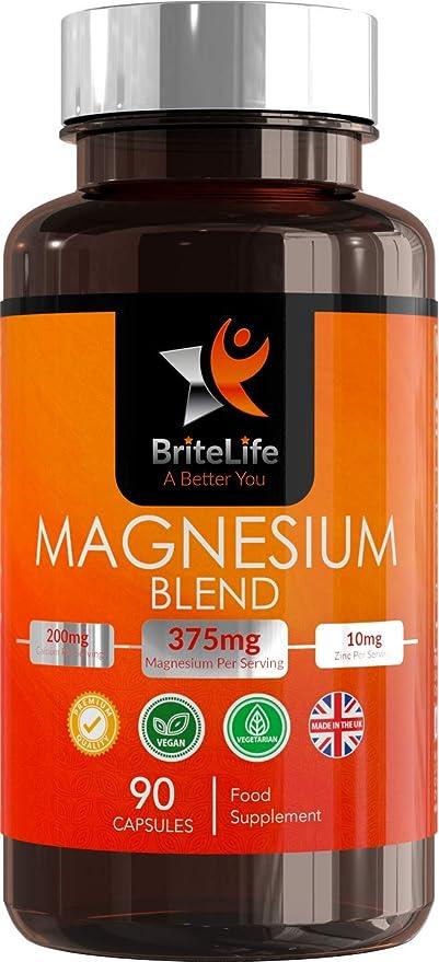 Fórmula de Magnesio - 375 mg | Complejo de Magnesio con Zinc, Vitamina B6 y Citrato de Magnesio | ALTA BIODISPONIBILIDAD | 90 cápsulas vegetarianas - 1 mes ...