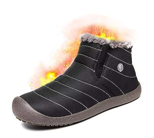 5afd0f2e2c582 Chaussures d hiver Homme Femme Bottes de Neige Garçon Fille Imperméables  Chaudes Fourrure Baskets Bottines