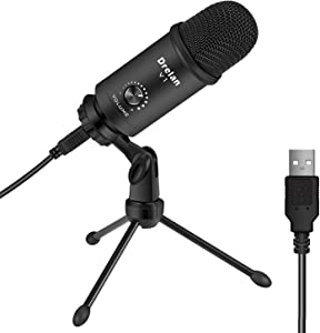 USB Microphone, Condenser desktop Computer Mic 192KHZ/24BIT Plug & Play with Professional Sound Chipset, for PC Voice Recording,Podcasting,Skype,YouTube,Games,Google Voice Search