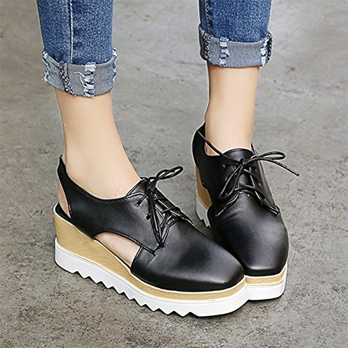 Easemax Womens Stylish Square Toe Lace Up Platform Wedge Heels Lug Sole Pumps Shoess Black mUL5rtKN