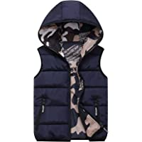 Chaleco de Pluma Sin Mangas Chaqueta con Capucha Niños Niñas Reversible Abrigo de Invierno Camuflaje Trajes Azul 7-8…
