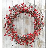 Heart of America Waterproof Berry Wreath Scarlet/Gray 18''