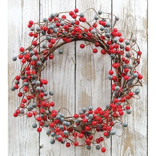 Heart of America Waterproof Berry Wreath Scarlet/Gray 18''