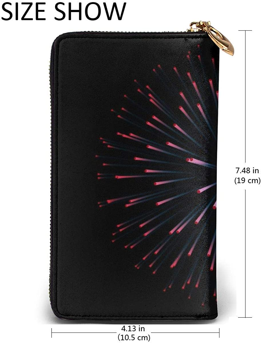 Fireworks New Year Celebration Festive Night Leather Zipper Clutch Bag Wallet Large Capacity Long Purse For Women Customized