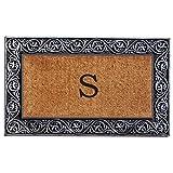 "Home & More 10002SILVS Prestige Doormat, 18"" x 30"" x 1"", Monogrammed Letter S, Natural/Silver"