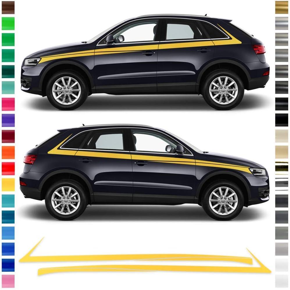 Auto Dress Seiten Streifen Aufkleber Set Dekor Passend Für Audi Q3 In Wunschfarbe Schwarz Matt Auto