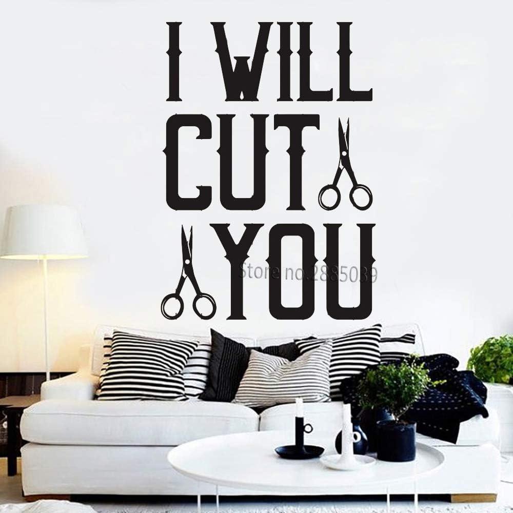 Ajcwhml Divertido Barber Shop Cotizaciones de Vinilo Tatuajes de Pared Peluquero peluquería Etiqueta Mural Art Pared de Cristal decoración 84 cm x 118 cm: Amazon.es: Hogar