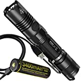 Nitecore P12GT 1000 Lumens Compact Tactical LED Flashlight with  High Capacity USB Rechargeable 3400 mAh 18650 Battery Bundle