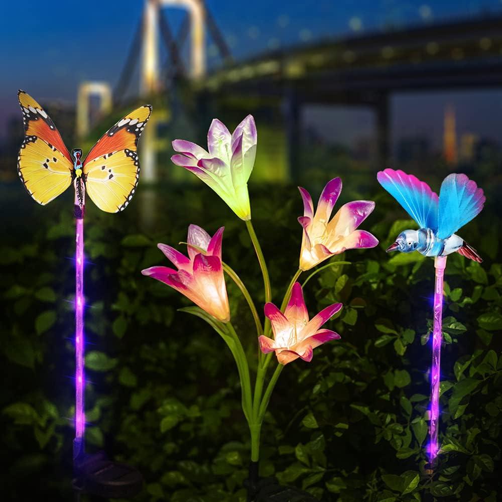 LuxKazsazzi Solar Lights Ourdoor Decorative, Auto Color Changing, 3 Pack Lily Flower, Butterfly & Bird, Dusk to Dawn Solar Flower Lights Outdoor, Rechagerable Solar Garden Lights Multicolor