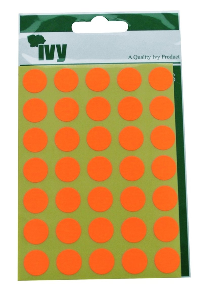 Ivy 13mm Fluorescent Orange Self Adhesive Round Dot Spot Sticky Labels Circle Stickers (140 Stickers)
