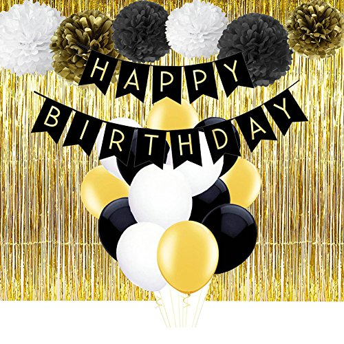 Black and Gold Happy Birthday Banner with Tissue Pom Poms Fringe Curtain and Balloons for Happy New Year New Year's Eve Party Decorations 12' Metallic Latex Balloons
