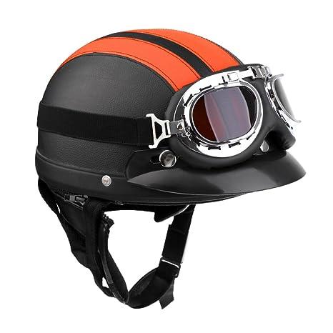 Sharplace Casco con Visera Seguridad Hombre Moto Suave Confortable Accesorio Ciclismo - Negro naranja