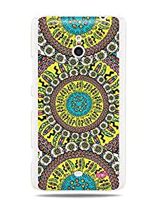 GRÜV Premium Case - 'Fun Cool Funky Vibrant Colorful : Traditional African Mosaic Tribal Pattern' Design - Best Quality Designer Print on White Hard Cover - for Nokia Lumia 1320