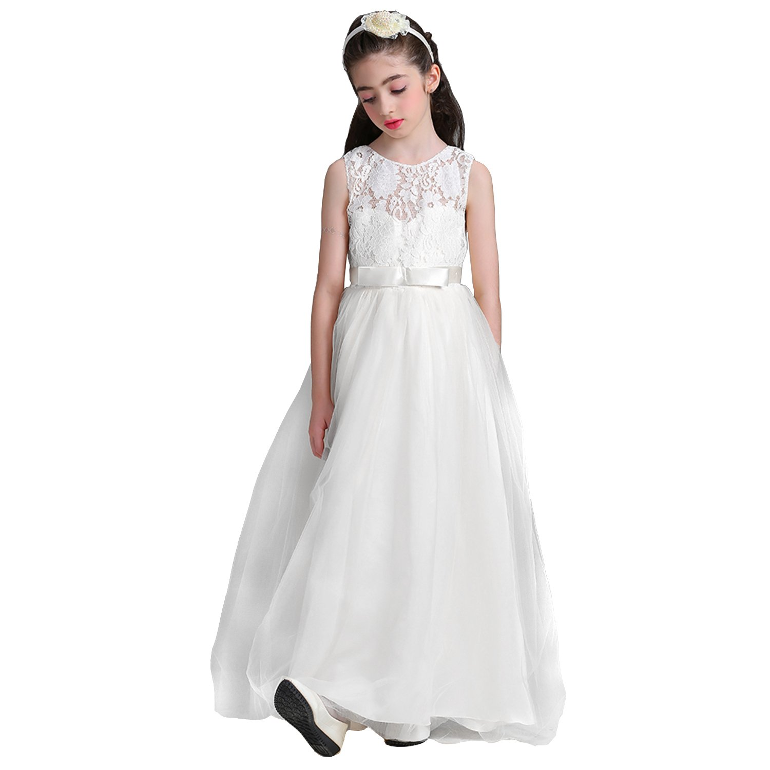 Amazon.com  Acecharming Girls Floor Length Princess Dresses Kids Sleeveless Wedding  Party Prom Ball Gowns Maxi Dress  Clothing 686780d93b3c