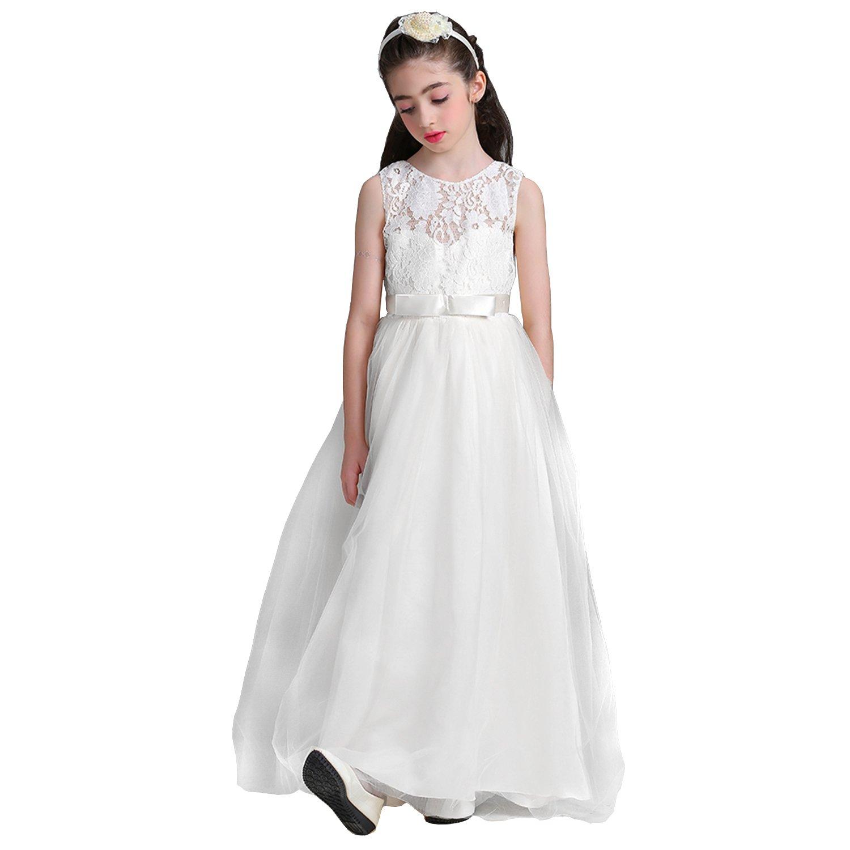 80b1ab3791b8 Amazon.com  Acecharming Girls Floor Length Princess Dresses Kids Sleeveless  Wedding Party Prom Ball Gowns Maxi Dress  Clothing