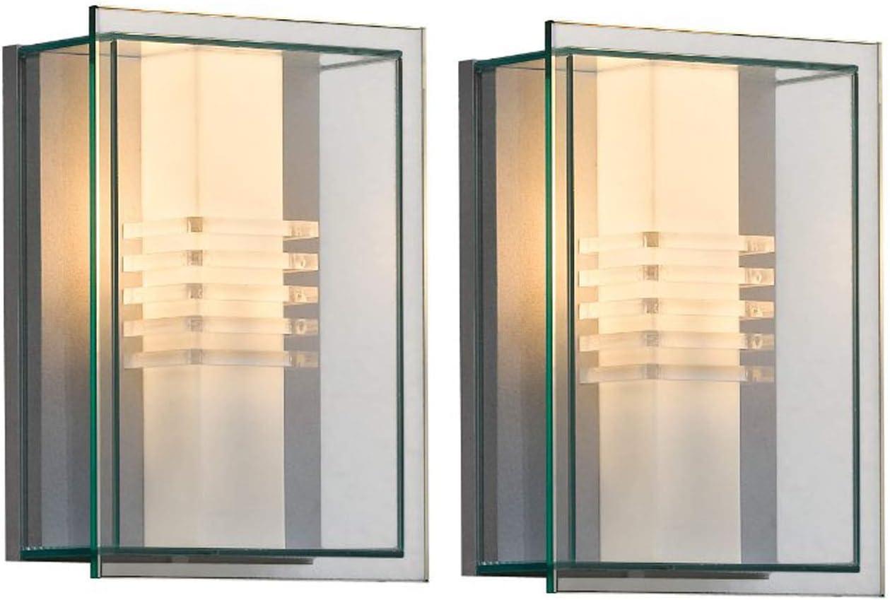 Konstsmide Juego de 2 – Lámpara de pared Sol, aluminio plata/Resistente policarbonato cristal, 409 – 310: Amazon.es: Iluminación