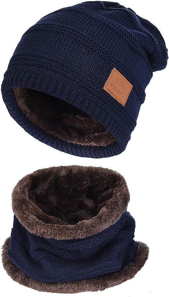 Vbiger cappello uomo invernale berretto uomo in maglia con sciarpa B075FTY1JR