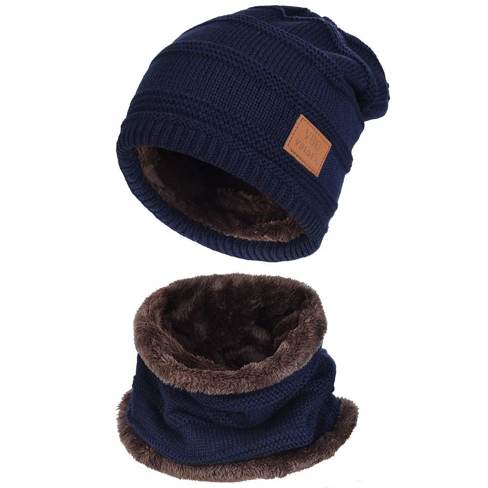b38c0045407f16 Vbiger Wintermütze Strickmütze Warme Beanie Winter Mütze und Schal mit  Fleecefutter für Damen und Herren product