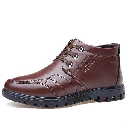 Shufang-shoes Vellón Interior cálido Invierno Botas para Hombre de Trabajo Botines de Tobillo Punta