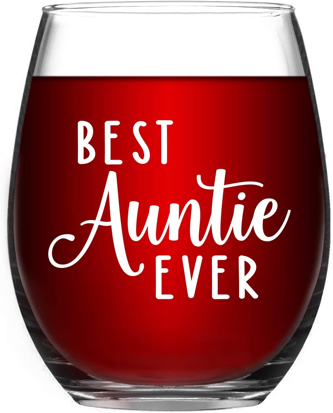 Aunt Gifts - Aunt Wine Glass 15 Oz, Best Auntie Ever Gift for Mother's Day, Birthday, Pregnancy Announcement, Baby Announcement - Aunt Gifts from Niece, Nephew