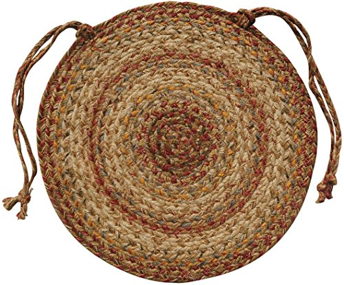 Homespice Chair Pad Round Jute Braided Rugs, 15-Inch, Harvest - Set of 4