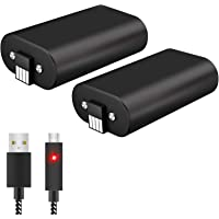 Xbox One Controller Battery Pack, 2Pcs X 1600 mAh Rechargeable Batteries with 10FT USB Charging Cable Xbox Play & Charge…