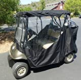 Black Golf Cart Driving Enclosure 2 Seater Heavy duty, fits E Z GO, Club Car and Yamaha G model - All Weather