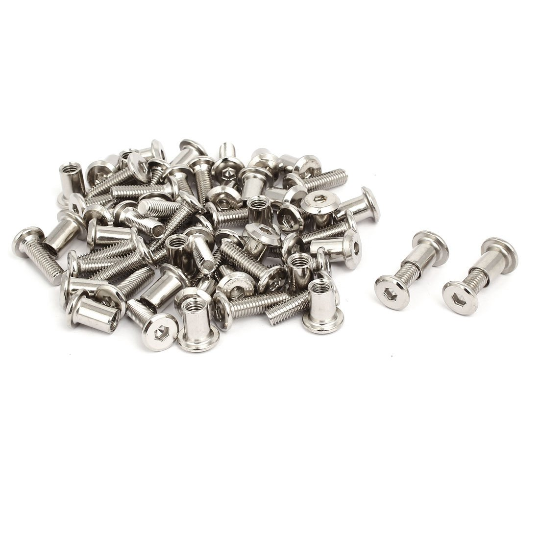 uxcell M6x20mm Male Thread Cupboard Cabinet Socket Hex Screw Post Silver Tone 30pcs