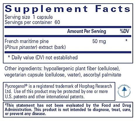 Amazon Com Pure Encapsulations Pycnogenol 50 Mg Hypoallergenic