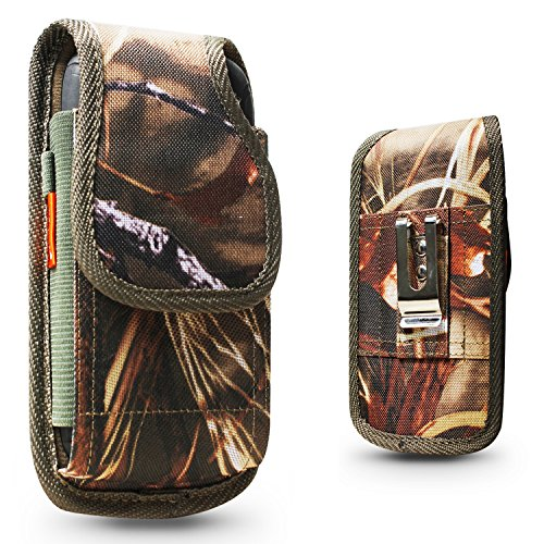 Galaxy S7 S6 S5,S6 Active,S7 Active, S7 Edge Plus, Real Camo Tree Camouflage Pouch Holster Nylon Case Metal Belt Clip Fits Phone+Otterbox Defender/Commuter/Symmetry/Lifeproof Cover - Camo Phone Cell Cover
