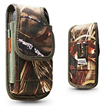 Galaxy S8 S7 S6,S6 Active,S8 Active, S8 Plus, Pouch Holster Nylon Case Metal Belt Clip Fits Phone+Otterbox Defender/Commuter/Symmetry/Lifeproof Cover On (Camo)