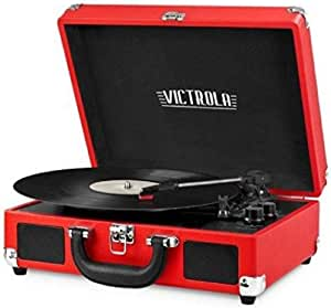 Victrola Vintage 3-Speed Bluetooth Portable Suitcase Record Player with Built-in Speakers | Upgraded Turntable Audio Sound| Includes Extra Stylus | Red, 1SFA (VSC-550BT-RD)