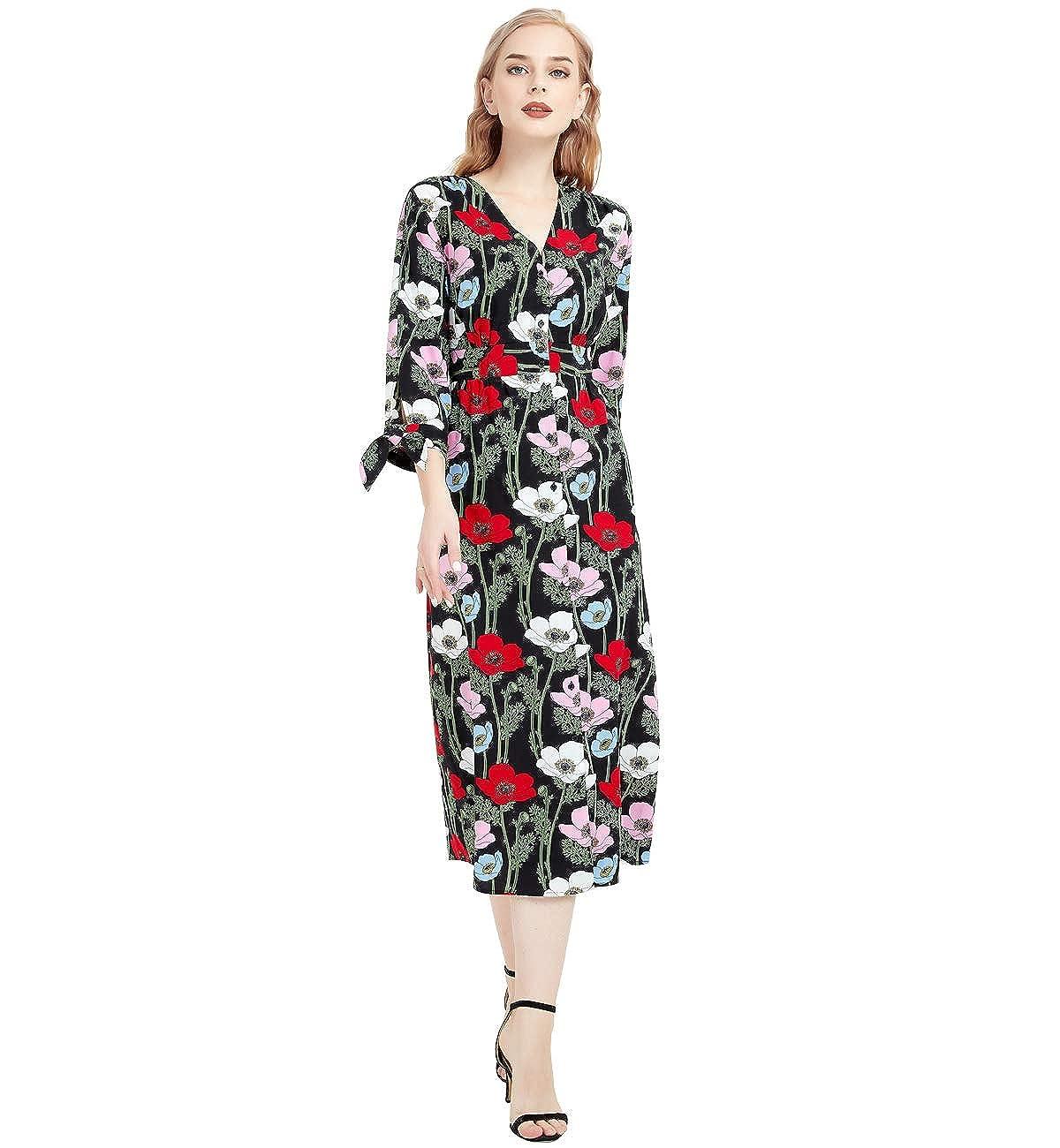 07e52dde3cb Basic Model Women s Floral Print Vintage V-Neck Boho 3 4 Sleeve Button Up Maxi  Dress at Amazon Women s Clothing store
