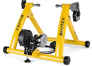 Deuter Bike Trainer, Magnetic Bicycle Stationary Stand for Indoor Exercise Riding, Portable, Quick Release Skewer & Front Wheel Riser Block Included