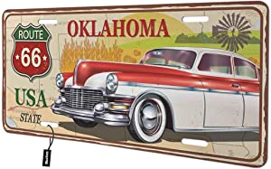 Beabes Oklahoma State Front License Plate Cover, Vintage Rusty Sign Car Nature Map Landscape Decorative License Plates for Front of Car Vanity Plate for Men Women Alumium 6x12 Inch