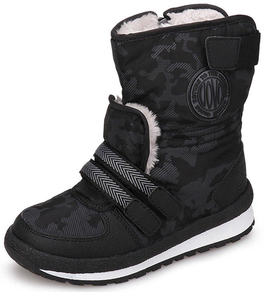 SFNLD InStar Boys' Fleeced Mid Calf Antiskid Snow Boots With Side Zipper Black 13.5 M US Little Kid