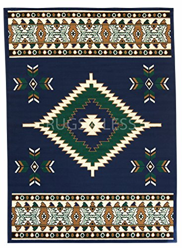 Rugs 4 Less Collection Southwest Native American Indian Area Rug Navajo Design R4L SW2 in Navy Blue (5'x7')
