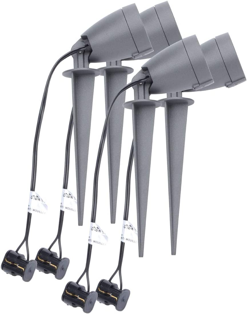iGrowtek LED Spike Spot Light,Stake Light Outdoor,AC DC 12V Low Voltage,Waterproof IP65, Aluminum Body,5W,4 Packs