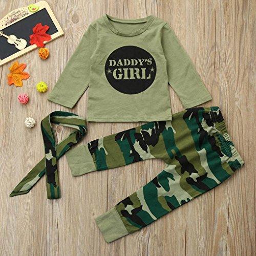 Longra Neugeborene Kleinkind Baby Mädchen Buchstabe Kleidung mit Camouflage Langarmshirts + Hosen Babymode Baby Kleidung Sets(0-18 Monate) Camouflage