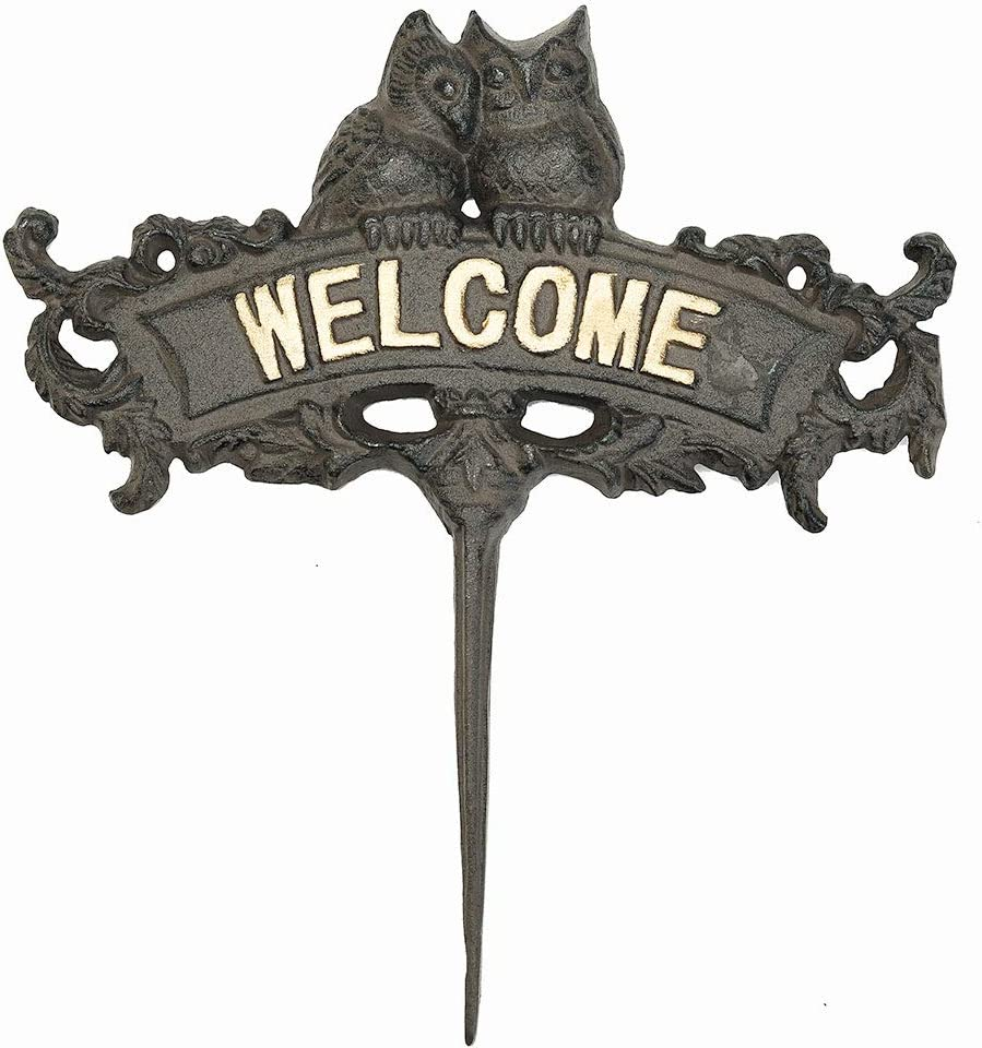 Sungmor Cast Iron Owl On Welcome Sign Garden Ornament Decoration - Heavy Duty Sign Plaque Garden Park Lawn Yard Spike - Great Decor for Garden Home