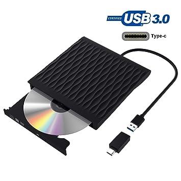 Grabadora DVD, Lector CD/DVD Usb 3.0 y Type-C, Ultra Slim Portátil Unidad de DVD, Disquetera Externa CD/DVD-RW Super Drive, Compatible con WIN98 ...